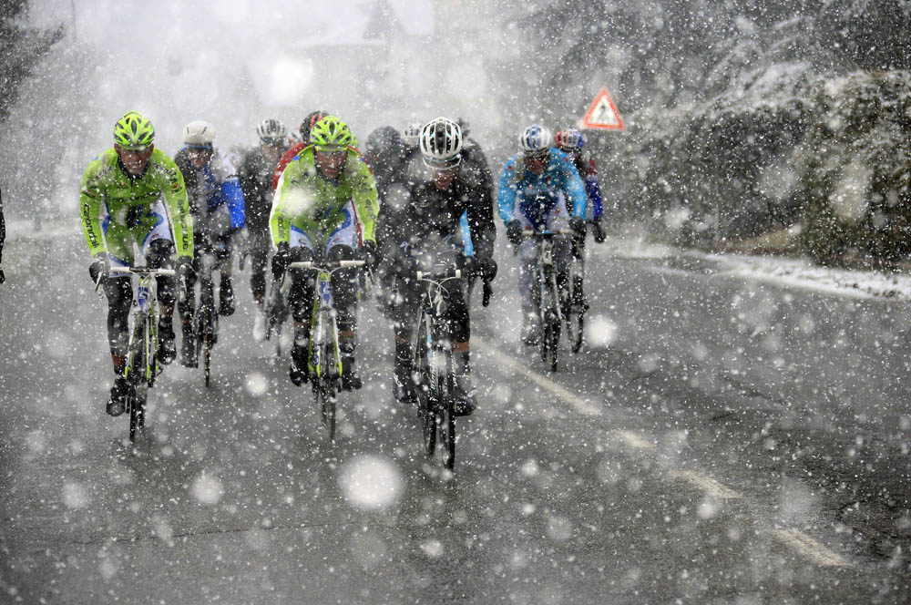 winter cyclists
