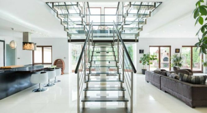 Glass railing, glass brick trending in home, office decor