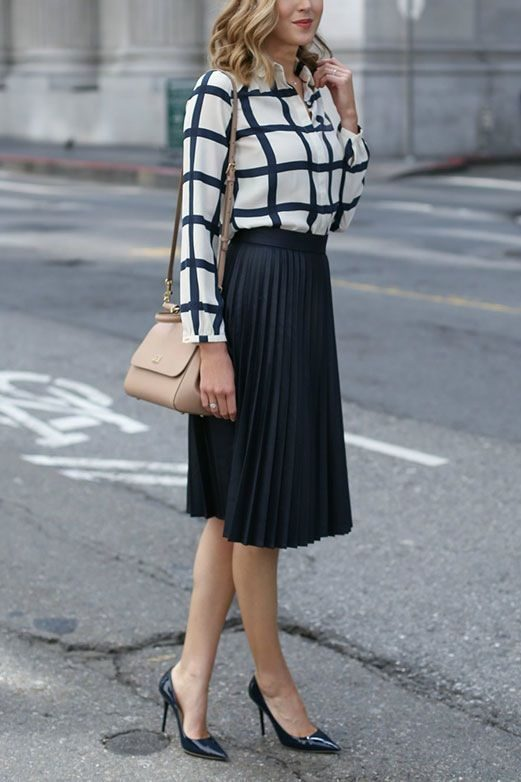 Business Casual Look How to Wear This Year's Midi Skirts Trend