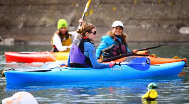 Learning kayaking in saltwater kayak