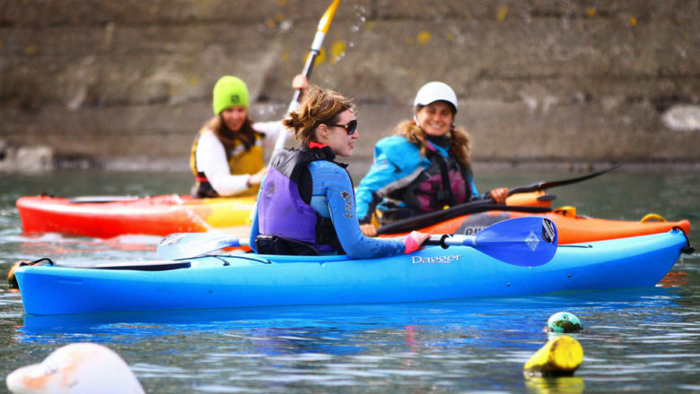Learning kayaking in saltwater kayak