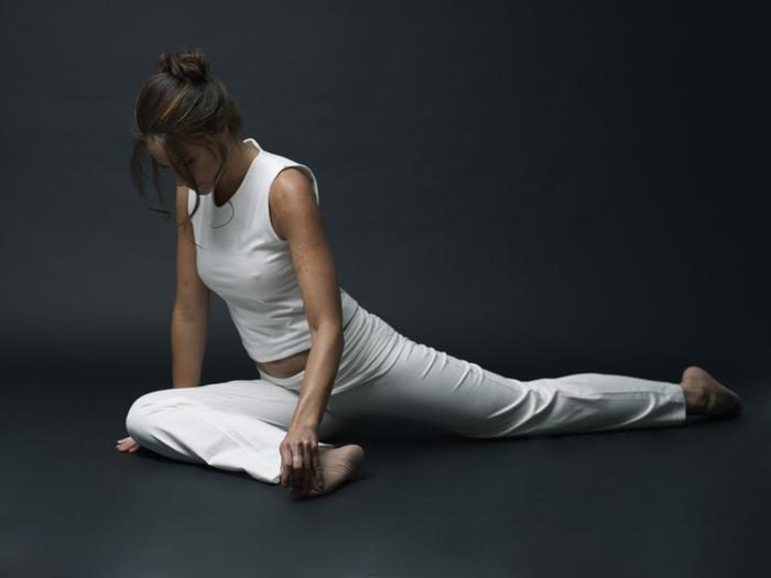 Fashionable white yoga clothing and more