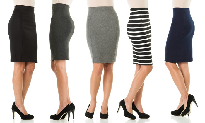 knee length pencil skirt SHOPPING FOR CLOTHES THAT GIVE YOU A SLIMMER LOOK